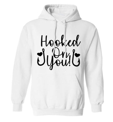 Hooked on you adults unisex white hoodie 2XL