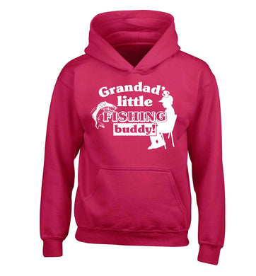 Grandad's little fishing buddy! children's pink hoodie 12-13 Years