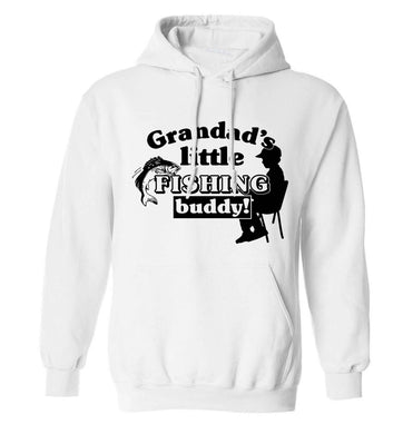 Grandad's little fishing buddy! adults unisex white hoodie 2XL
