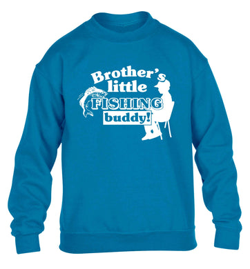 Brother's little fishing buddy children's blue sweater 12-13 Years