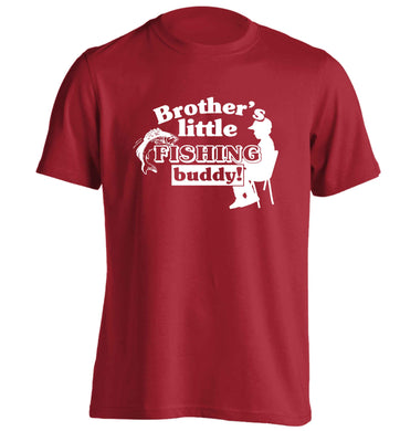 Brother's little fishing buddy adults unisex red Tshirt 2XL