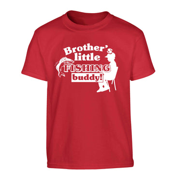 Brother's little fishing buddy Children's red Tshirt 12-13 Years