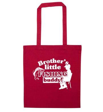 Brother's little fishing buddy red tote bag
