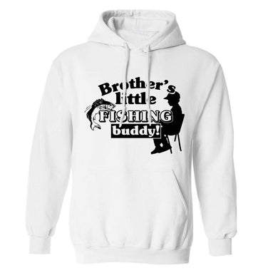 Brother's little fishing buddy adults unisex white hoodie 2XL