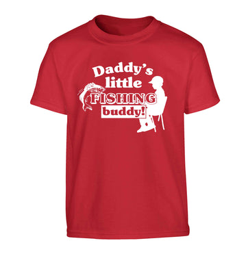 Daddy's little fishing buddy Children's red Tshirt 12-13 Years