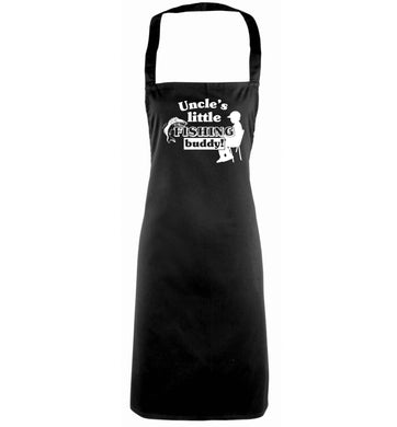 Uncle's little fishing buddy black apron