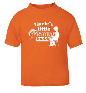 Uncle's little fishing buddy orange Baby Toddler Tshirt 2 Years