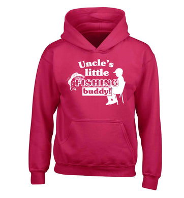 Uncle's little fishing buddy children's pink hoodie 12-13 Years