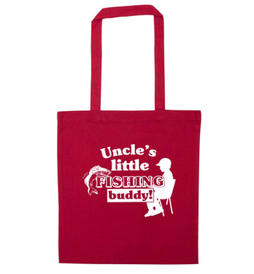 Uncle's little fishing buddy red tote bag
