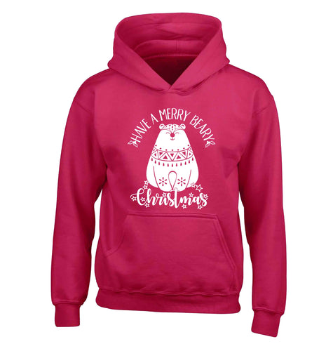 Have a merry beary Christmas children's pink hoodie 12-13 Years