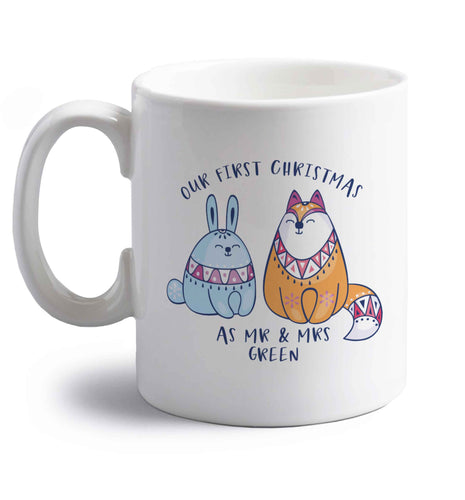 Our first Christmas as Mr & Mrs personalised right handed white ceramic mug
