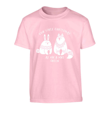 Our first Christmas as Mr & Mrs personalised Children's light pink Tshirt 12-13 Years