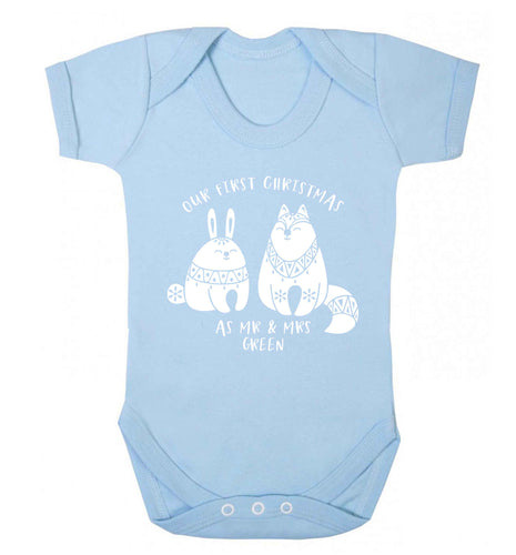 Our first Christmas as Mr & Mrs personalised Baby Vest pale blue 18-24 months