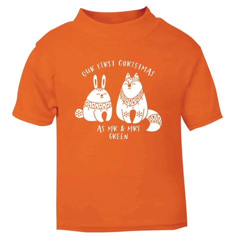Our first Christmas as Mr & Mrs personalised orange Baby Toddler Tshirt 2 Years