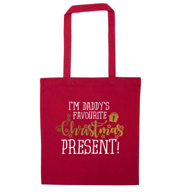 Daddy's favourite Christmas present red tote bag