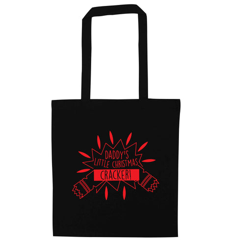 Daddy's little Christmas cracker black tote bag