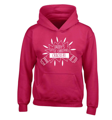 Daddy's little Christmas cracker children's pink hoodie 12-13 Years