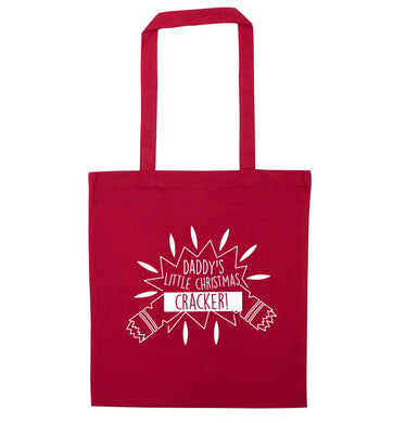 Daddy's little Christmas cracker red tote bag