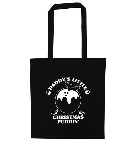 Daddy's little Christmas puddin' black tote bag