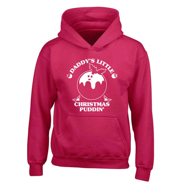 Daddy's little Christmas puddin' children's pink hoodie 12-13 Years
