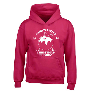 Nana's little Christmas puddin' children's pink hoodie 12-13 Years