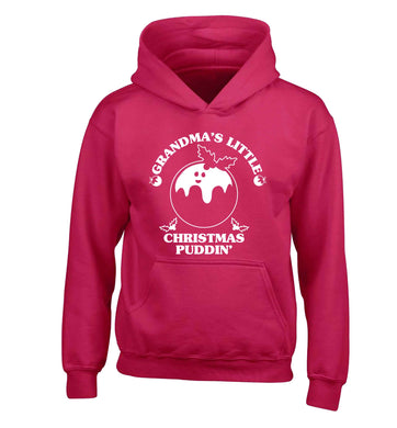 Grandma's little Christmas puddin' children's pink hoodie 12-13 Years