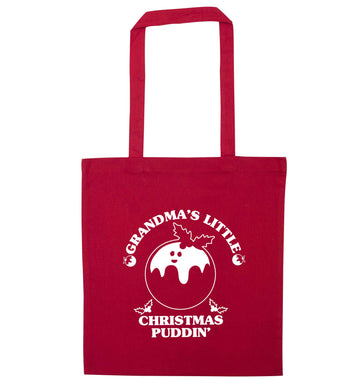 Grandma's little Christmas puddin' red tote bag