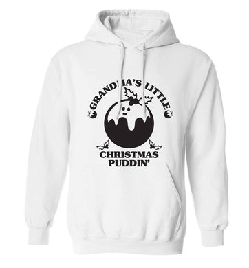 Grandma's little Christmas puddin' adults unisex white hoodie 2XL