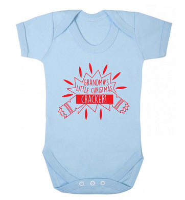 Grandma's little Christmas cracker Baby Vest pale blue 18-24 months