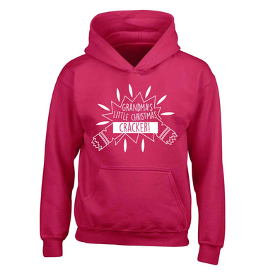 Grandma's little Christmas cracker children's pink hoodie 12-13 Years