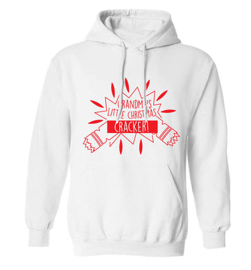 Grandma's little Christmas cracker adults unisex white hoodie 2XL