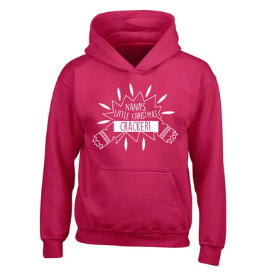 Nana's little Christmas cracker children's pink hoodie 12-13 Years