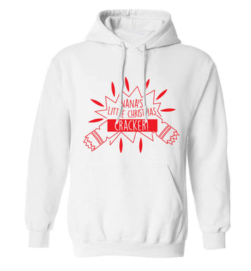 Nana's little Christmas cracker adults unisex white hoodie 2XL