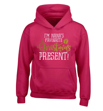 Nana's favourite Christmas present children's pink hoodie 12-13 Years