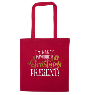 Nana's favourite Christmas present red tote bag