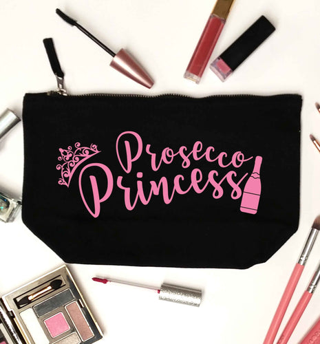 Prosecco princess black makeup bag