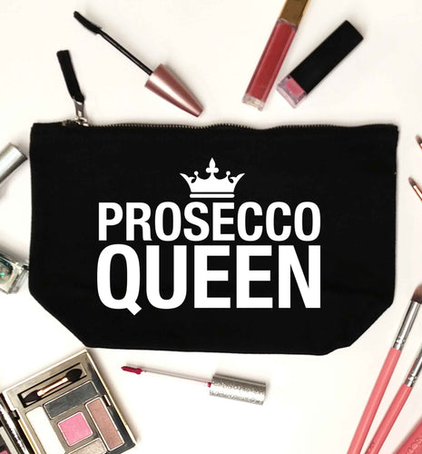 Prosecco queen black makeup bag