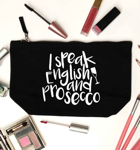 I speak English and prosecco black makeup bag