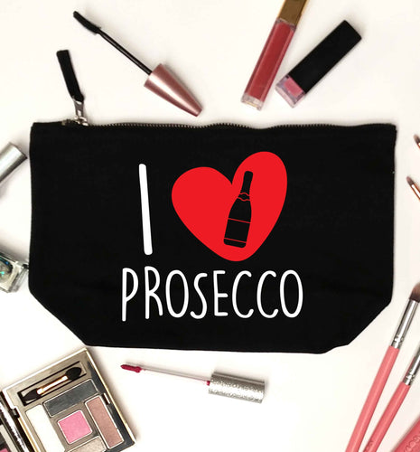I love prosecco black makeup bag