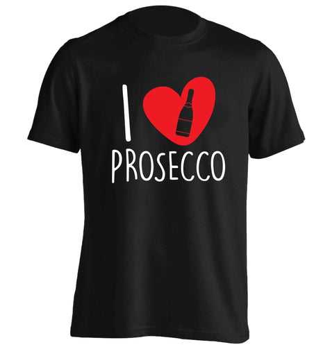 I love prosecco adults unisex black Tshirt 2XL