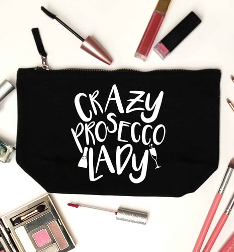Crazy prosecco lady black makeup bag