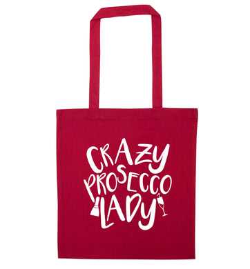 Crazy prosecco lady red tote bag