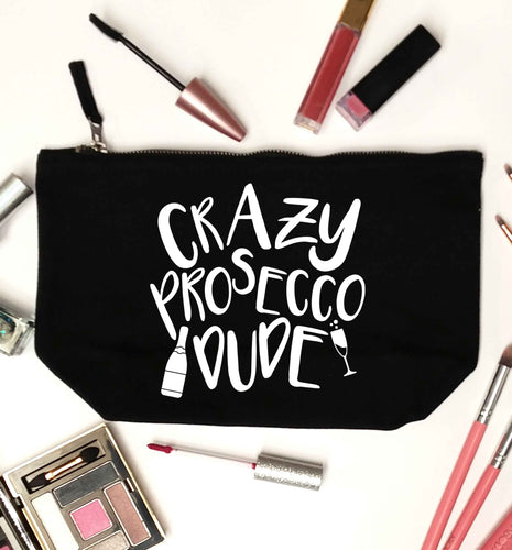 Crazy prosecco dude black makeup bag