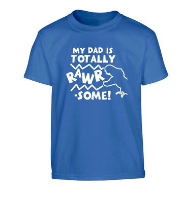 My dad is totally rawrsome Children's blue Tshirt 12-13 Years