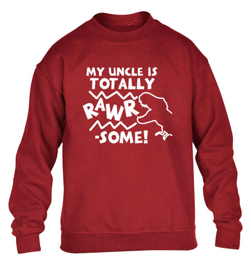 My uncle is totally rawrsome children's grey sweater 12-13 Years