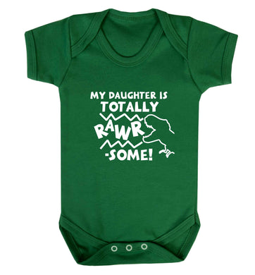 My daughter is totally rawrsome baby vest green 18-24 months
