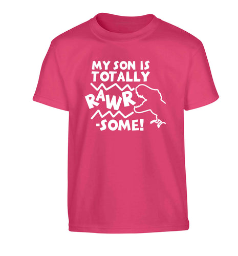 My son is totally rawrsome Children's pink Tshirt 12-13 Years