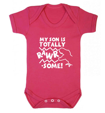 My son is totally rawrsome baby vest dark pink 18-24 months