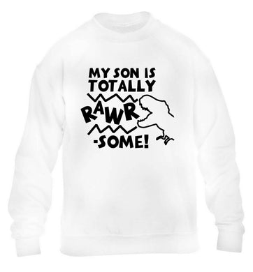 My son is totally rawrsome children's white sweater 12-13 Years