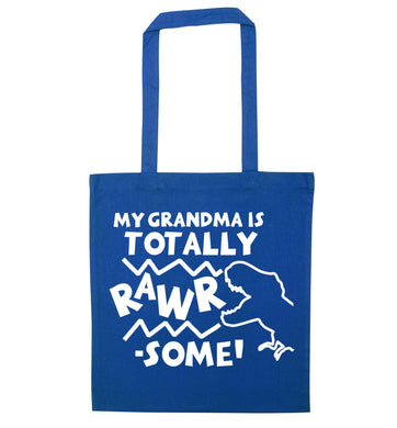 My grandma is totally rawrsome blue tote bag